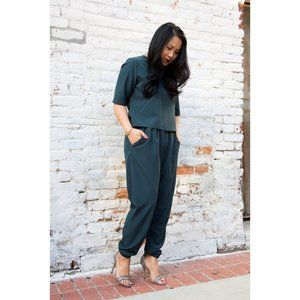 NEW NWT Teal Woven T-Shirt Jumpsuit Shades of Grey